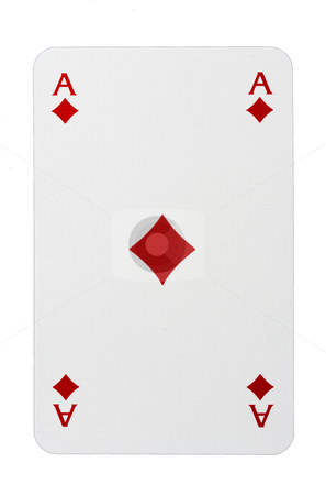 Ace Of Diamonds stock photo, Ace Of Diamonds Isolated On White by Ingvar Bjork