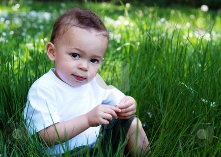 Little Boy stock photo, Cute little boy hiding in tall grass on a sunny summer day. Horizontally framed shot. by Orange Line Media
