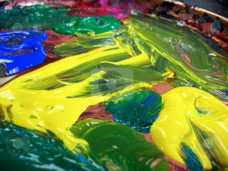 Tempera Finger Paint stock photo, Close-up shot of a wet finger painting made with tempera paint. by Orange Line Media