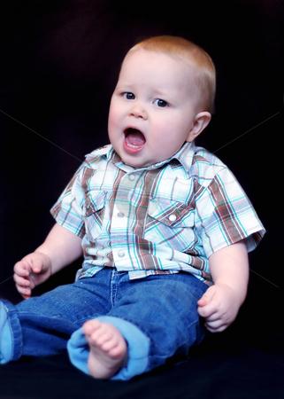 Toddler Boy - Western Shirt stock photo, Portrait of a toddler boy western shirt and blue jeans. by Orange Line Media