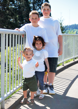 Siblings stock photo, Three brothers and their sister standing and smiling together on a sunny day. Vertically framed shot. by Orange Line Media