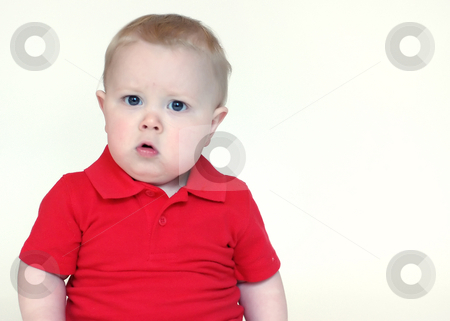 Confused Toddler stock photo, Portrait of toddler boy wearing a red polo-shirt with a confused look on his face. by Orange Line Media