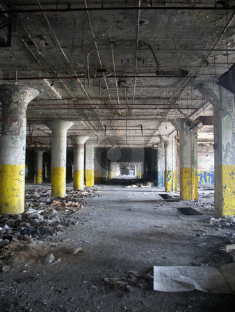 Abandoned Building stock photo, An indoor vertical shot of an abandoned factory / warehouse, with a single vanshing point. by Orange Line Media