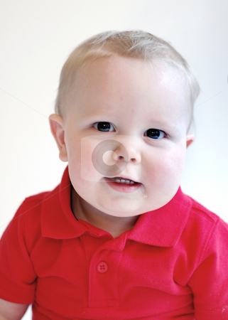 Toddler Boy - Toothy Grin stock photo, Portrait of a toddler boy wearing a red polo shirt. by Orange Line Media