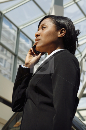 Atrium Businesswoman - Vertical stock photo, Vertical shot of a businesswoman, talking on a cellphone, standing in an atrium. by Orange Line Media
