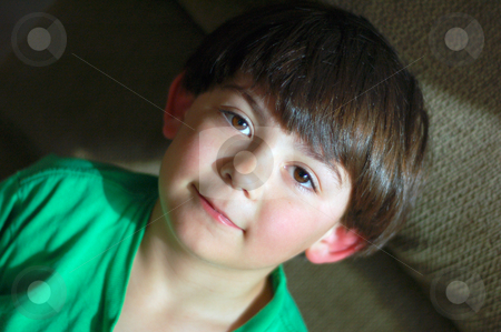 Young Boy - Horizontal stock photo, Cute young boy wearing a green shirt looking at the camera. by Orange Line Media