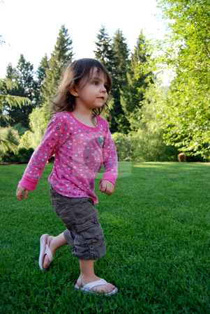 Girl Playing stock photo, Adorable brown-haired girl running in lush green grass on a summer day. Vertically framed shot. Girl is running towards the camera. by Orange Line Media