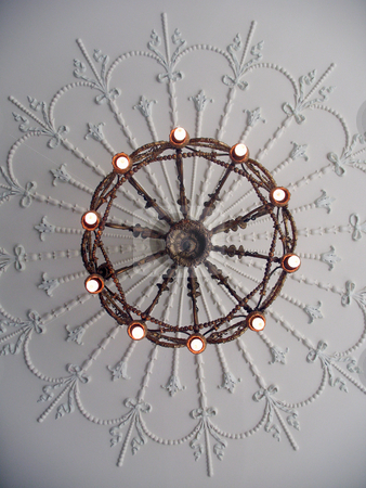 Antique Chandelier stock photo, A shot of an antique chandelier, shot looking straight up. by Orange Line Media