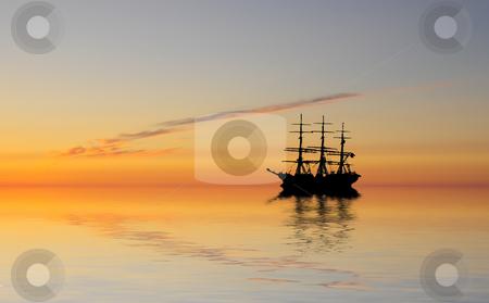 Ghostship stock photo, Ghostship at sunset by Magnus Johansson
