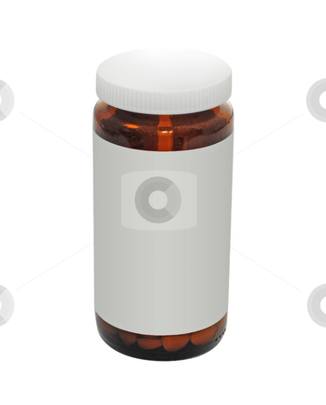 Pill bottle stock photo, A pill bottle isolated over white, with copy space by Magnus Johansson