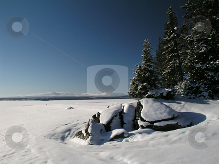 Frozen lake stock photo, Frozen lake in north Sweden by Ingvar Bjork