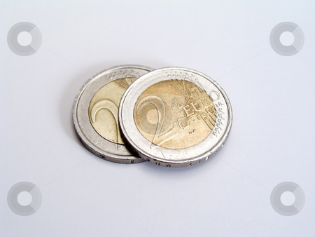 Euro Coins stock photo, Euro coins isolated on whit background by Ingvar Bjork