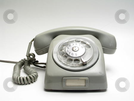 Old telephone stock photo, Old telephone, isolated on white by Ingvar Bjork