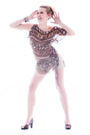 Young fashion girl stock photo, Young blond sexy fashion model on white by Frenk and Danielle Kaufmann