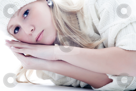 Winter woman stock photo, Young blond sexy fashion model on white by Frenk and Danielle Kaufmann