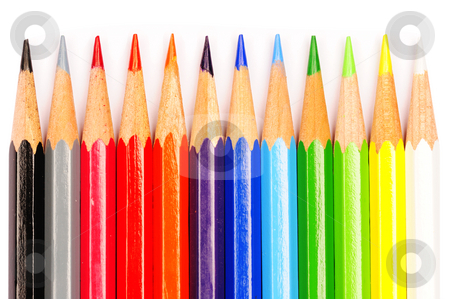 Crayons stock photo, A row of coloured pencils on a white background. by Alistair Scott