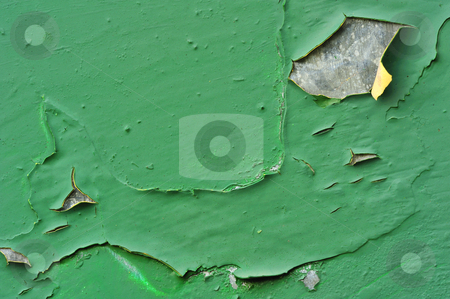 Peeling paint stock photo, Macro image of peeling paint on an old galvanised iron door. Suitable as background with space for text. by Alistair Scott