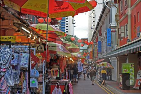 Street szene in Singapore stock photo, Street szene in Singapore; photographed in October 2008 by Manuela Schueler