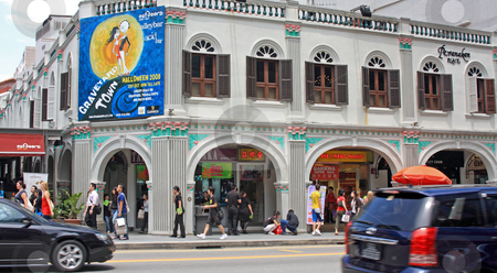 Street szene in Singapore stock photo, Street szene in Singapore;