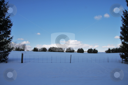 Snow field  stock photo, Country snow winter landscape by R Deron