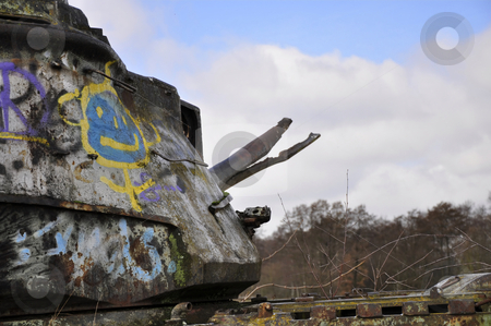 Tank stock photo, Abandoned tank with grafitti by Nils Volkmer