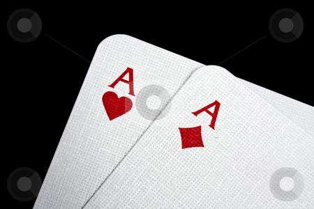 A pair of aces stock photo, A pair of aces isolated on black by Ingvar Bjork