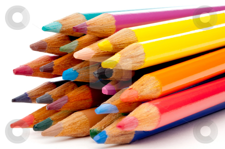 A horizontal view of colored pencils stock photo, A horizontal view of colored pencils by Vince Clements