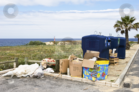 Trash stock photo, Trash neglectfully abandoned near recycle containers by Manuel Ribeiro