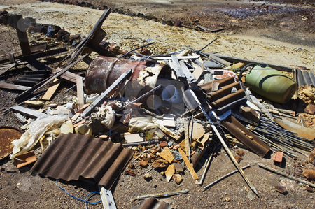 Pile of debris stock photo, Pile of debris neglectfully abandoned in a field by Manuel Ribeiro