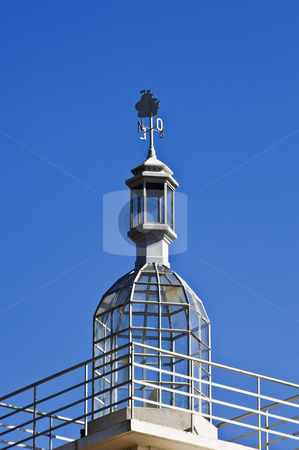 Lighthouse dome stock photo, Vintage lighthouse dome with beautiful weathercock, Lisbon, Portugal by Manuel Ribeiro