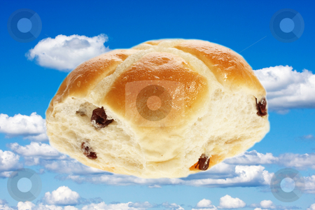 Easter hot cross bun stock photo, Easter hot cross bun, isolated on plain background by Christopher Meder