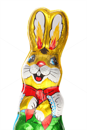 Golden chocolate Easter bunny stock photo, A golden chocolate Easter bunny isolated with area for text by Christopher Meder