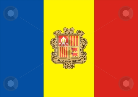 Flag of Andorra stock photo, 2D illustration of the flag of Andorra by Tudor Antonel adrian
