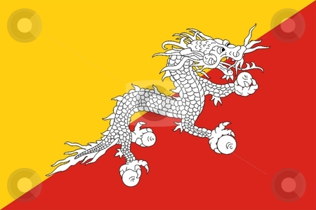 Flag Of Bhutan stock photo, 2D illustration of the flag of Bhutan by Tudor Antonel adrian