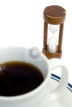 Closeup Coffee stock photo, Closeup view of a cup of coffee isolated against a white background by Richard Nelson