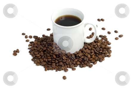 Coffee Beans stock photo, Coffee beans surrounding a cup of java, isolated against a white background by Richard Nelson