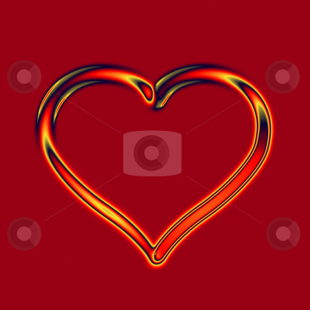 Fire glass heart stock photo, Transparent glass fire heart on deep red background by Wino Evertz