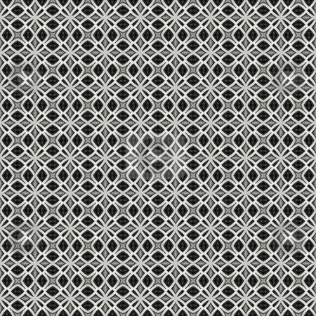 Black and white ornament pattern stock photo, Seamless texture of metallic retro flower shapes on white by Wino Evertz