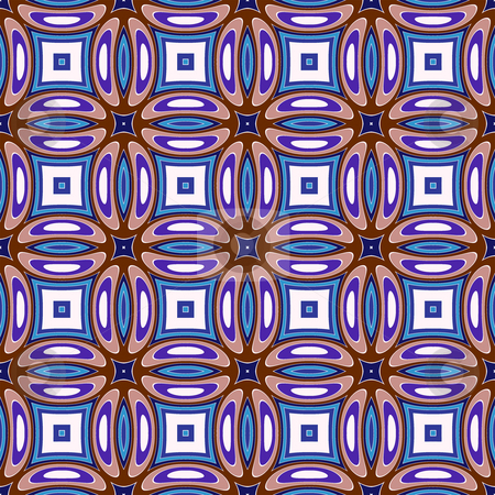 Abstract retro pattern stock photo, Seamless texture of kaleidoscopic curls in blue and brown by Wino Evertz