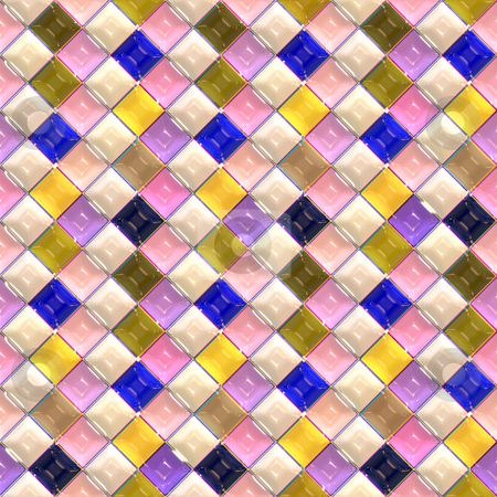 Glossy tile pattern stock photo, Seamless 3d texture of glossy pastel colored tiles by Wino Evertz