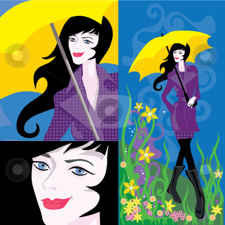 Umbrella Woman stock vector clipart, Woman walking in feild with an umbrella.  Includes closeups.  Vector EPS and jpg by Maggie Bates