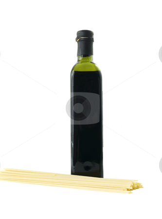 Bottle with Spaghetti stock photo, Bottle with spaghetti on a white background by John Teeter