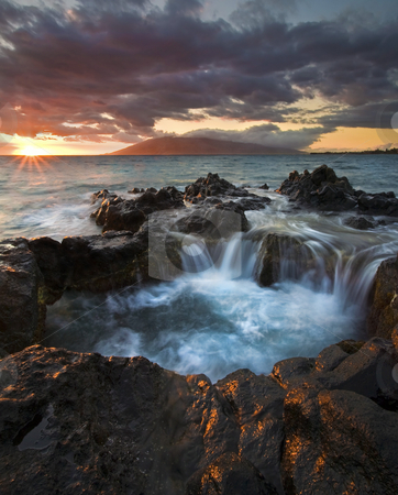 Filling The Cauldron stock photo, Rising tides fill a natural cauldron of the Kihei, Maui, Hawaii by Mike Dawson
