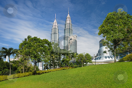 Kuala Lumpur Cityscape stock photo, Kuala Lumpur Cityscape with twin tower and mosque by Jaggat Images
