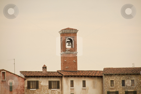 Tuscan Bell tower stock photo, Bell tower in a Tuscan style village by Chris Alleaume