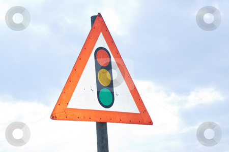 Warning road sign - traffic lights stock photo, Warning road sign showing traffic lights by Chris Alleaume