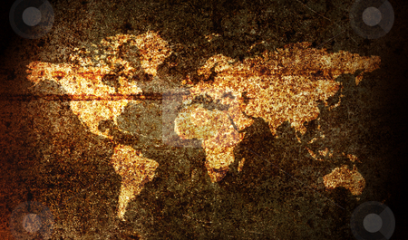 World map stock photo, World map on a rusy surface by Luca Bertolli