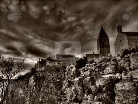 Mediterranean Village stock photo, Mediterranean Village in black and white technique. horror style by Sinisa Botas