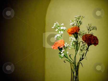 Flowers in a vase stock photo, Flowers in a vase in retro style. by Sinisa Botas