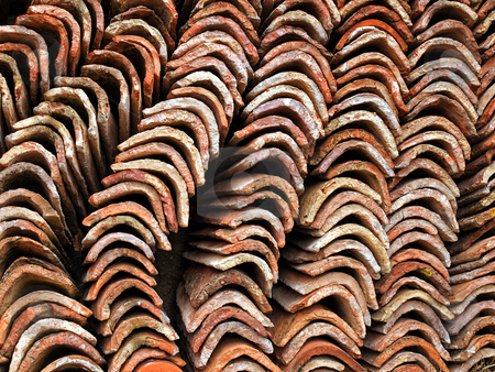 Roof tiles stock photo, Close up of sorted  old roof tiles by Sinisa Botas
